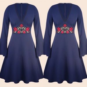 Plus Size Bell Sleeve A Line Dress